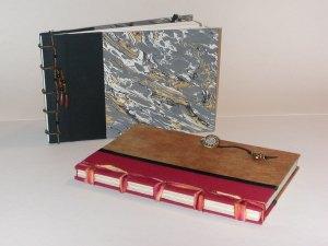 Book cloth, book board, silk, paper.