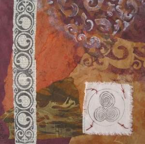 """Mixed media collage  12 x12""""  Collaged on canvas, this piece includes vintage encyclopedia text, stenciling and images transferred to canvas."""