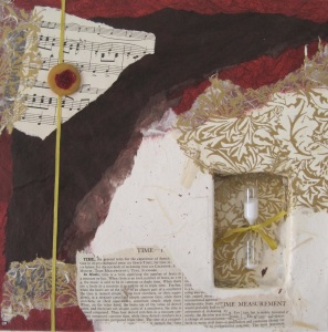 """Mixed media collage  12 x12""""  Collaged on canvas, this piece includes vintage silk cord and encyclopedia text, antique sheet music and an inset niche containing an hourglass."""