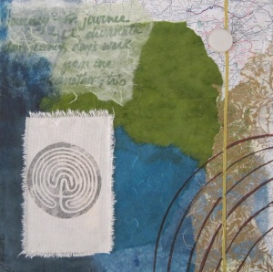 """Mixed media collage  12 x12""""  Collaged on canvas, this piece includes vintage silk cord, stenciling and images transferred to canvas."""