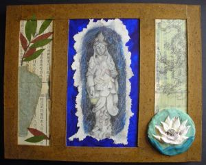 Mixed Media on canvas - 2008Kwan Yin is the Chinese bodhisattva of mercy and compassion. She is seen as a protector of women, and the embodiment of unconditional love. Her symbols include a lotus, alluding to her beauty within and without; and a vase, in which she carried the nectar or immortality. She teaches us to live through your deeds; find peace at your center. Live a life of compassion; nurturing, blossoming.