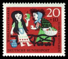 Snow white folk art stamp