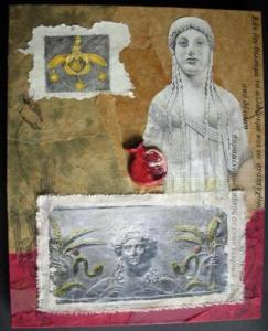 Mixed Media on canvas - 2008  Demeter is the Greek goddess of the earth, of grain and fertility.  Her daughter, Persephone is the Maiden of spring, yet also the Queen of the Underworld. Persephone spends half the year in the Underworld, as Demeter's grief for her absent daughter plunges the Earth into barrenness - thus creating the cycle of the seasons. Growth returns when the Spring Maiden emerges from below.