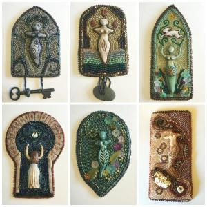 Polymer, seed beads, gems, glass, fabric, found objects. These small beaded tapestries represent the first half of 2016. Creating one piece each month, I am working through the year. The goddesses are sculpted polymer.