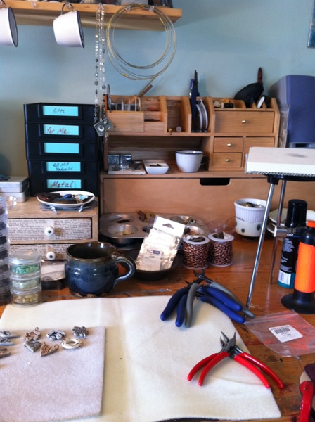 worktable in studio