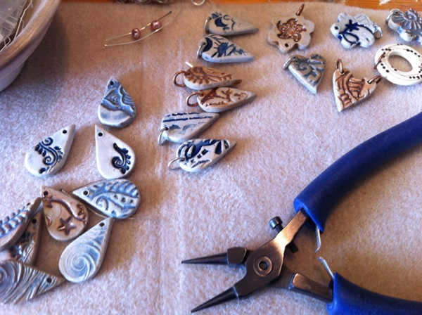 earrings in progress