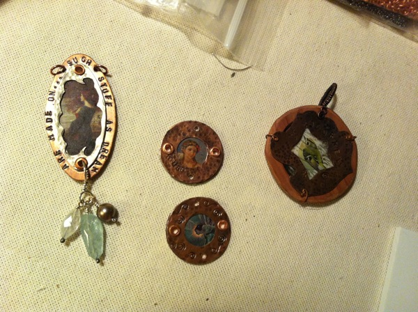 copper frames pendants