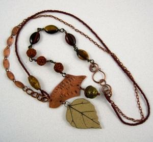Stoneware leaf, copper, gemstone beads.