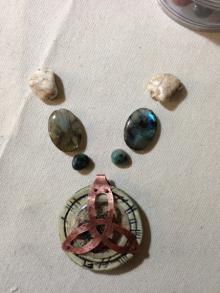 4. Labradorite, howlite emeralds