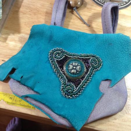beaded leather pouch