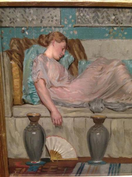 """Two women on a sofa"" Albert Moore"