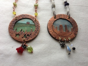 Copper, miniature watercolor paintings, glass beads, gemstone beads.