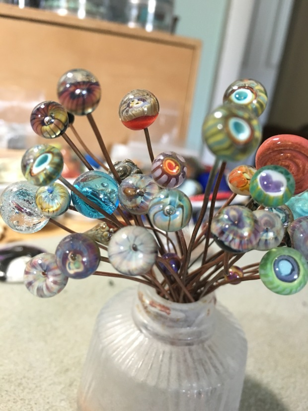 This collection sits just above my bead table...