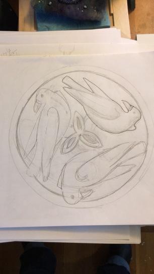 Triple raven sketch